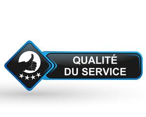 qualité du service sur bouton web carré design bleu