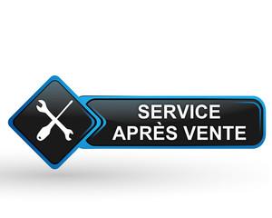 service après vente sur bouton web carré design bleu