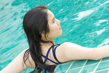 swiming girl, Asian girl ready to swim in the pool