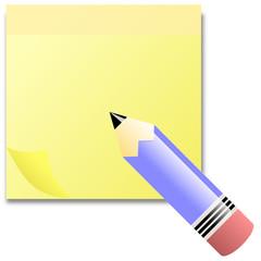 Post - It Block in Gelb mit Stift