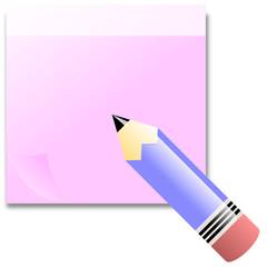 Post - It  in Rosa mit Stift