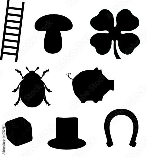 gl ckssymbole silhouette stockfotos und lizenzfreie vektoren auf bild 47109911. Black Bedroom Furniture Sets. Home Design Ideas