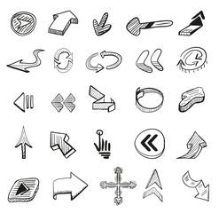Vector set: 25 hand drawn arrows