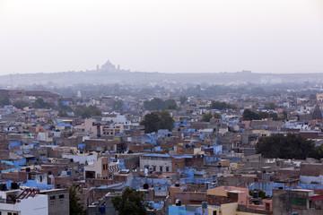 Jodhpur Blue City with views to Umaid Bhawan Palace.