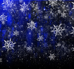 Bright Christmas background with a large snowflake