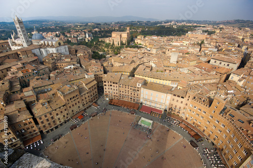 Siena Piazza Del Campo Dall Alto Stock Photo And Royalty Free