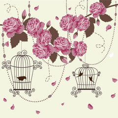 Deurstickers Vogels in kooien Roses and birds in cages