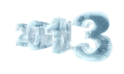New 2013 year ice figures isolated on white