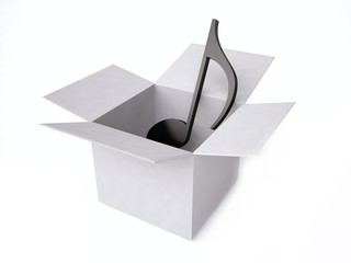 3d Music Note in a Gift Box