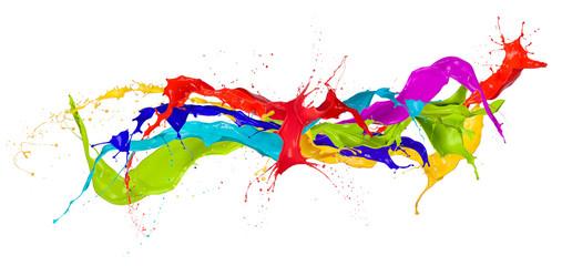 Obraz  Colored paint splashes isolated on white background - fototapety do salonu