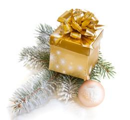 golden gift box with fir tree
