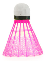 pink plastic shuttlecock isolated on white