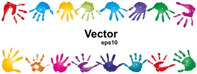 Vector conceptual human hand paint print frame
