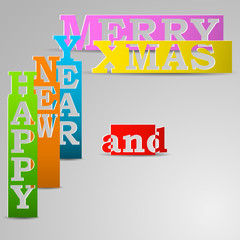 Happy New Year & Merry Xmas paper strips eps10 vector illustrati
