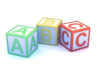 Letter blocks ABC scattered