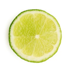 Slice of lime isolated on white