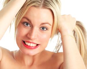 Beautiful female model pulling hair