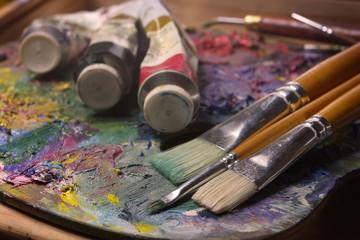 brushes, paints, pallette