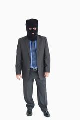 Businessman wearing a balaclava