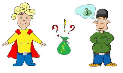 Cartoon money elf and superman kid boy