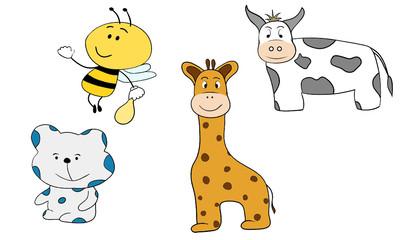 Cartoon animals little bee bear giraffe and cow