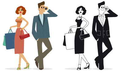 businessman and woman with shopping
