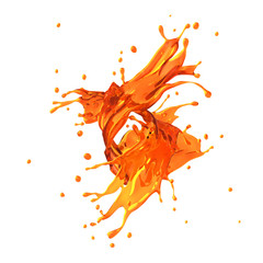Orange juice splash, isolated on white background.