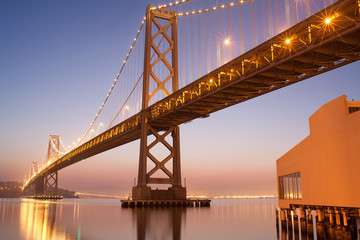 Daybreak with clear night sky at Bay Bridge , San Francisco
