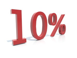 3d sign  - Discount 10 percent -isolated red reflective plastic