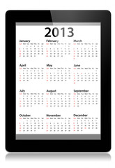 Calendar for 2013 in tablet PC