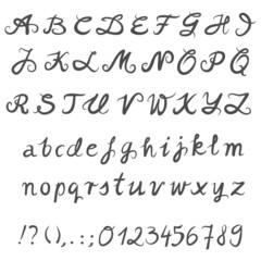 ręcznie pisany alfabet monochromatyczny zestaw liter i cyfr