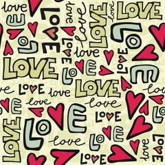 miłość i serca kolorowe retro graffiti na jasnym tle