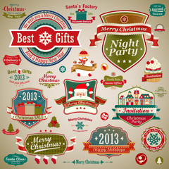 Wall Mural - Christmas vintage set: labels, ribbons and decorative elements.