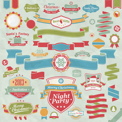 Wall Mural - Christmas set - ribbons, labels and other decorative elements.