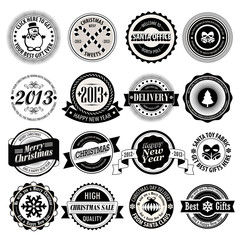 Wall Mural - Christmas set - black and white labels, emblems.