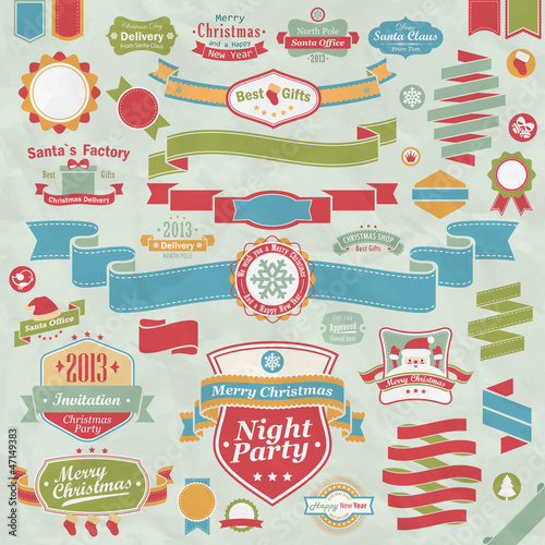 Wall mural Christmas set - ribbons, labels and other decorative elements.