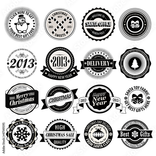Wall mural Christmas set - black and white labels, emblems.