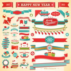 Wall Mural - Christmas set - vintage ribbons, labels and decorative elements.