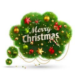 Wall Mural - Christmas Bubble for speech - fir tree. Vector illustration.
