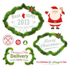 Wall Mural - Christmas decorative elements - fir tree. Vector illustration.