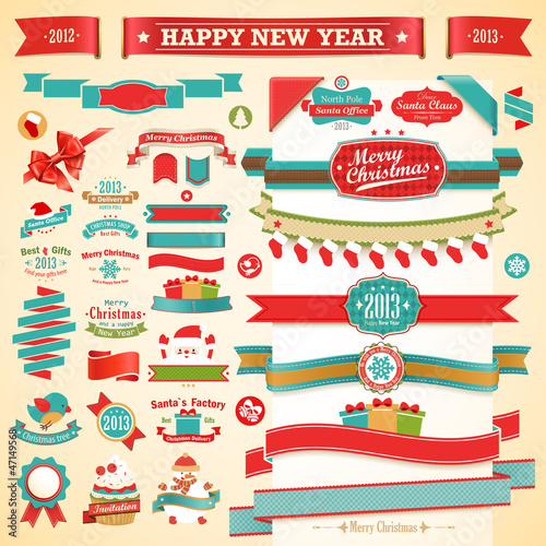 Wall mural Christmas set - vintage ribbons, labels and decorative elements.