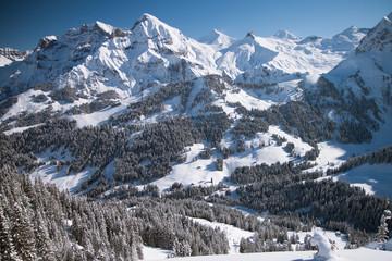 Wall Mural - Beautiful view to winter Swiss Alps, Berner Oberland, Adelboden