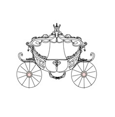 vintage carriage - doodle icon