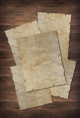 old papers sheet on wood