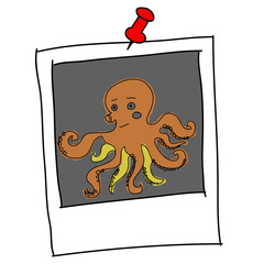 brown squid cartoon in picture frame