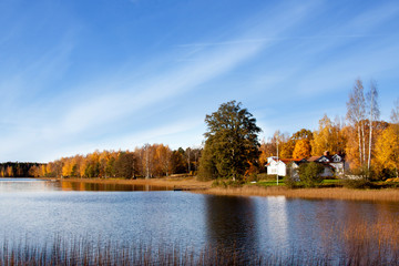 Lake in Sweden in autumn.