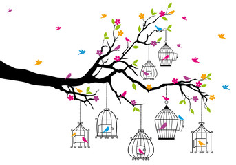 Aluminium Prints Birds in cages tree with birds and birdcages, vector