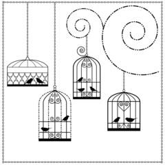 Printed roller blinds Birds in cages vögel im käfig
