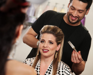 Smiling Woman with Hairdresser