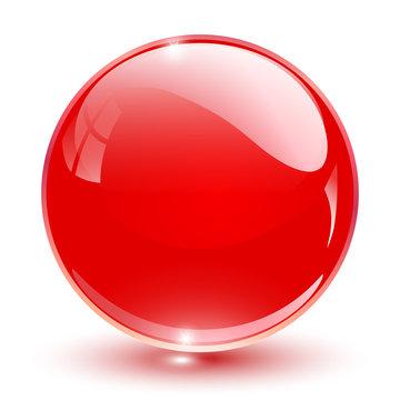 3D crystal sphere red